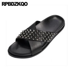 cf88e9998cc1c Discount nice classic shoes - Summer Black Spike Nice Slides Sandals Beach  Designer Shoes Men High