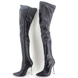 c88ec3101c9a Black Matt 60Cm Crotch Thigh High Boots Women 12Cm Stilettos Metal High  Heels Pointy Toes Custom Wide Calf Fit Shoes Woman