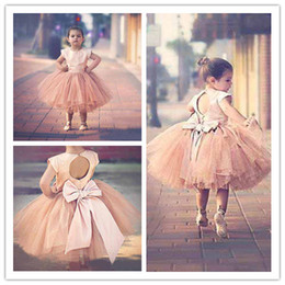 Discount blush tutu dress - Pageant Dresses For Girls Sleeves 2019 Hot Blush Pink Satin Top Tulle Tutu Bow Back Tea Length Flower Girls Dress For We