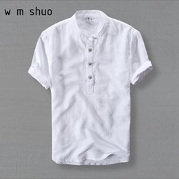 Mens Plus Size Silk Shirts Canada - Wmshuo Mens Shirts Fashion 2019 Summer Short Sleeve Slim Linen Shirts Male White Color Casual Shirts Plus Size 4xl Tops Y001 Y190506
