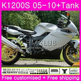 fairing bmw k NZ - Body+Tank For BMW K1200 S K 1200 S K1200S 05 06 07 08 09 10 Kit 30HM.17 K-1200S K 1200S 2005 2006 2007 2008 2009 2010 Gloss silver Fairing