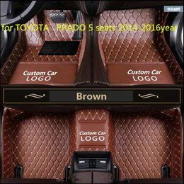 seat floor mats UK - Tailor made car floor mat waterproof PU leather material, suitable for TOYOTA PRADO 5 seats 2014-2016year