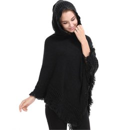 $enCountryForm.capitalKeyWord UK - Casual Women Sweater Poncho And Cape Knitted Sweaters Hooded Tassel Solid Pullover Women Poncho And Scarf Warm Coat Plus Size