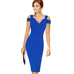 sexy summer club dresses wholesale UK - Lcw New Design Womens Elegant Sexy Off Shoulder Cut Out Deep V Summer Fashion Slim Casual Party Club Evening Bodycon Pencil Dress