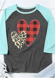 Best Wholesale T Shirts Australia - S-2XL Women Pullover Wrist Length Sleeve T shirt 2019 Spring Plaid Leopard Heart Print Sanding Tee Tops Valentine's Day Gifts for Girls best