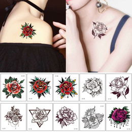 art arm Australia - Beautiful Small Red Rose Flower Hands Tattoo Body Art Sticker Sketch Fake Design for Woman Man Kids Arm Temporary Tattoo Summer Dacing Party