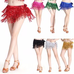 $enCountryForm.capitalKeyWord Australia - Womens Belly Dance Costume Tassel Belt Rows Strips Hip Scarf Sequins Rectangle Stage performance sequin skirt bohemian waist towel