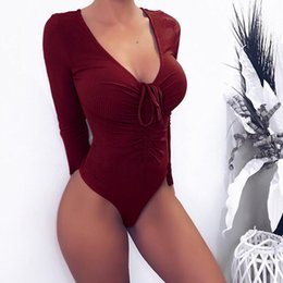 c15a0017b5 2019 Women Solid Stretch Skinny Party Jumpsuits Sexy Ladies Deep V Neck  Long Sleeve Lace Up Bodysuit Rompers Playsuit Female