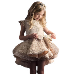 little girls mini skirts images NZ - Fashion hi low little girls pageant dresses in stock gold embroidery first holy communion dresses Cap Sleeves Cheap Children Skirts 2020
