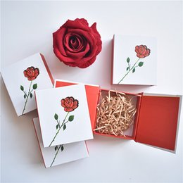 Wholesale Jewelry Box with Hand painted Rose for Earring Necklace Jewelry Gift Box jewellery Valentine s Day Thickening