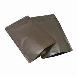China 50 Pieces Matte Coffee Multi Sizes Stand Up Zip Lock Pure Aluminum Foil Bag for Nuts Beans Pure Mylar Foil Reusable Self Sealed Coffee Pouch suppliers