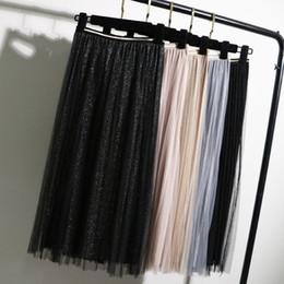 $enCountryForm.capitalKeyWord Australia - Gigogou Tulle Skirts Womens Black Gray Spring Summer Elastic High Waist Pleated Midi Ankle Length Lurex Tutu Skirt Q190517