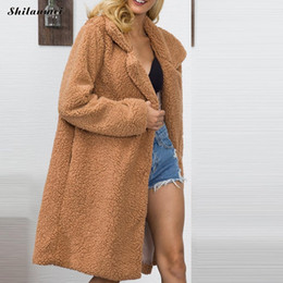 a176f32ec5aac 2018 Women Faux Fur Teddy Coat Winter Thick Warm Fluffy Long Fur Coats  Fashion Lapel Shaggy Jackets Overcoat Plus Size Outwear