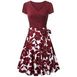 xl black flare dress 2019 - Women's Summer Dress Short Sleeve Cross V- Neck Vintage Dresses Elegant Flared A-Line Party Dresses Summer Dress 20
