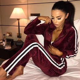 $enCountryForm.capitalKeyWord Australia - Tracksuit Autumn For Women Two Piece Set Stripe Top And Pants Women Velvet Suits Casual Fitness Set Sportswear Conjunto Feminino