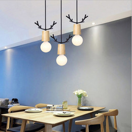 antlers light UK - Nordic Wood Antler Pendant Lights Hanging Modern Lamp Light Dining Table Kitchen Light Loft Living Room Loft Kitchen Lamp AC 90-260V
