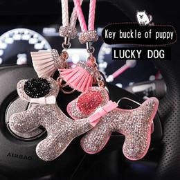 Car Decorations Diamonds Australia - Car Pendant Ornaments Hanging Diamond Lucky Dog Puppy Tassel Key Buckle Mirror Rearview Decoration Auto Interior Accessories