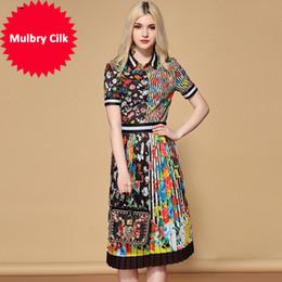 $enCountryForm.capitalKeyWord Australia - Designer Skirts Two Pieces Set Women's Elegant Floral Printed Blouses And Vintage Pleated Midi Skirt Sets Suits