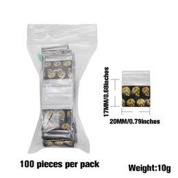 Crâne Mini Miniature Zip Serrure Grip En Plastique Sacs D'emballage En Alimentaire Bijoux Bonbons Rescellable Épais PE Auto-Soudage Petit Paquet Stockage Cadeau