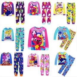 Art Canvas Prints Australia - 2019 Baby Shark Pajamas Set Kids Long Sleeve T shirt Pullover +Pants 2pcs Outfits Boyg Girls Cartoon Shark Print Casual Tracksuits 110-140cm