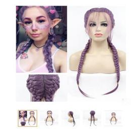 $enCountryForm.capitalKeyWord Australia - Hot selling fashion sexy long hair wig 24 inch handmade purple straight dreadlocks double braids lace front wigs with weaving cap