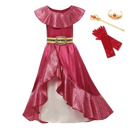 short frock girls NZ - Girl Dress For Elena Princess Elena War Cosplay Sets Children Ruffles Sleeveless Red Maxi Frocks Fancy Party Clothing 3-12T Y200317