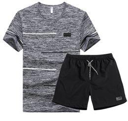 Men Short Sets Polyester Australia - Hot T Shrits Men Summer Shorts for Men Sets Causl Style O Neck T Shirts and 4XL Shorts Homme Polyester Tee+shrots Sets