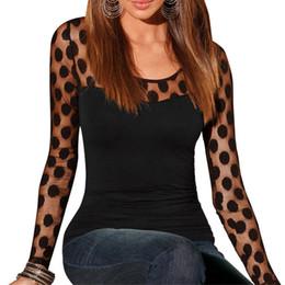 Long Sleeve Black Lace Tee Australia - Sexy Black Dot Lace t shirts Women Evening Party Tees Tops Female Transparent Long Sleeve Slim Tops T-shirt Poleras De Mujer