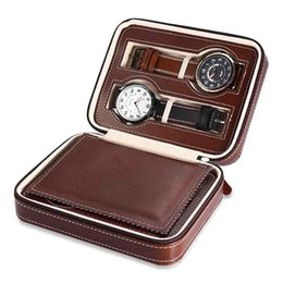 Antique Zippers Australia - watch zipper package travel convenient carry jewel box Hot 4 Brown black watch box Caja Reloj container Jewelry Organizer dw