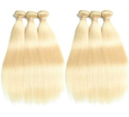 hair for weaving Australia - 10A Hair Weft Blonde Hair Weaving #613 Blonde Color Silky Straight Peruvian Virgin Human Hair Bundles for Woman Fast Free Shipping