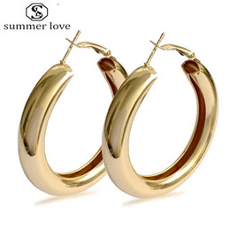 classic style jewelry 2019 - 2019 Classic Punk Style Thick Hoop Earring for Women Girls Fashion Silver Gold Plating Hiphop Geometric Earrings Fashion