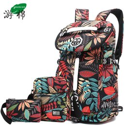 large travelling backpacks Canada - Youmian Large-capacity Travel Backpack Female Shoulder Bag Sports Fitness Canvas Bag Light Hiking Travel Luggage Y19061102