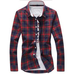 blue red checkered shirt Australia - 5xl Plaid Shirts Men Checkered Shirt Brand 2019 New Fashion Button Down Long Sleeve Casual Shirts Plus Size Drop Shipping MX190719