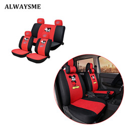 Wholesale ALWAYSME Full Sets Front And Back Seats Universal Fits Most Car Width Less M Car Auto Seat Covers Cartoon Sandwich Material