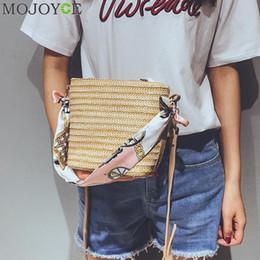 Silk Handbags Australia - Summer Women Durable Weave Straw Beach Bags Feminine Woven Bucket Bag Grass Casual Silk Riband Handbags Knitting Rattan Bags Y19061204