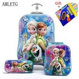 kids backpacks wheels Canada - Kids Suitcase For Travel Luggage Suitcase For Girls Children Rolling Travel Luggage Bags School Backpack With Wheels Wheeled Bag Y190601