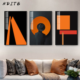 orange abstract canvas art NZ - Orange Modern Abstract Painting Nordic Decoration Canvas Poster Decorative Print Minimalist Wall Art Picture Living Room Decor