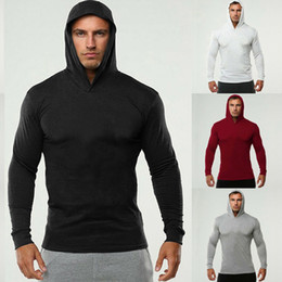 Discount plain slim fit t shirt Bodybuilding Running T-Shirt Men Fitness Long Sleeve Hooded T Shirt Men Plain Gym Clothing Fashion Slim Fit Cotton Tee T