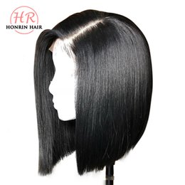 Chinese  Honrin Hair Short Bob 13x6 Deep Part Lace Front Wig Brazilian Virgin Human Hair Full Lace Wig Pre Plucked Bleached Knots 150% Density manufacturers