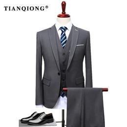 Branded Casual Suits Australia - Tian Qiong 2017 Famous Brand Mens Suits Wedding Groom Plus Size 4xl 3 Pieces(jacket+vest+pant) Slim Fit Casual Tuxedo Suit Male Y190422