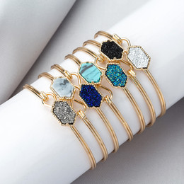 Ladies bangLes stones online shopping - Fashion Woman Turquoise Bracelet Classic Sliver Gold Plated Drusy Faux Stone Bangle Lady Jewelry Party Gift LJ TTA1200
