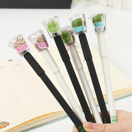 $enCountryForm.capitalKeyWord Australia - Cute Garden Grow Grass Gel Pen Kawaii Korean Stationery Creative Gift School Supplies 0.5mm Plant Gel Pens
