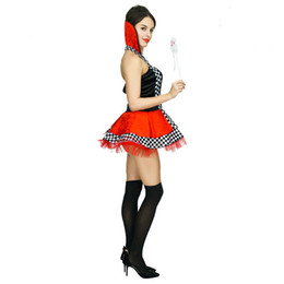 Wholesale queen hearts cosplay costume for sale - Group buy Women s Red Heart Poker Queen Costumes Fashion Halloween Costume Cosplay Women Black Dress Halloween Party Costumes