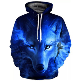 Space Wolfs NZ - Galaxy Space Blue Wolf Hoodies New Printed 3D Women Men Sweatshirts Tracksuits Long Sleeve Jackets Hooded Thin Hoody Pullover