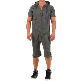 Jumpsuit Sportswear Australia - Men's Zipper Hooded Jumpsuit Short Sleeve Hoodies Casual Rompers Shorts For Male Overalls Clothing Plus Size Sportswear