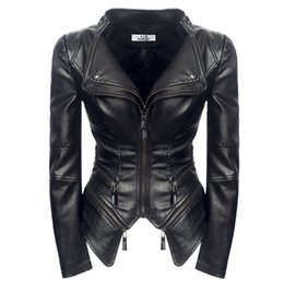 faux leather jacket ladies Australia - 2019 Spring Fashion Women Smooth Motorcycle Faux Leather Jackets Ladies Long Sleeve Autumn Winter Office Streetwear Black Coat