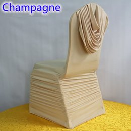 $enCountryForm.capitalKeyWord Australia - Champagne colour universal lycra chair covers ruffled top cover chair spandex pleated luxury wedding decoration wholesale