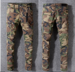 Discount tyga ripped jeans NEW 2018 JAY-Z CAMO PANTS SLIM TYGA camo jeans trousers hip-hop fashion NEW WEST Camouflage