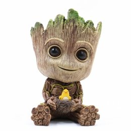 baby groot toy NZ - Guardians of the Galaxy Tree Man Baby Pen Pot Flowerpot Marvel Action Groot Figures PVC Decoration Home Collection Model Toys