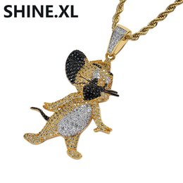 cat pendant for men NZ - 18K Gold Plated Iced Out Cartoon Cat and Mouse Cute Jerry Pendant Necklace Micro Paved Zircon Charm Necklace for Men Women